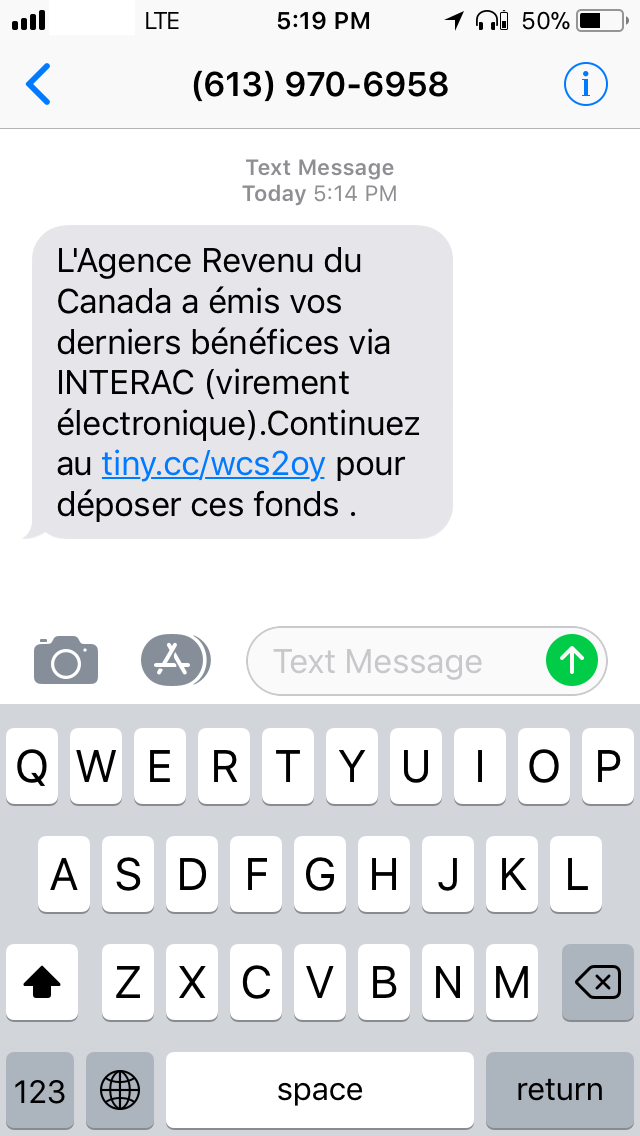 SMS phishing campaign using fake Canadian tax refund forms